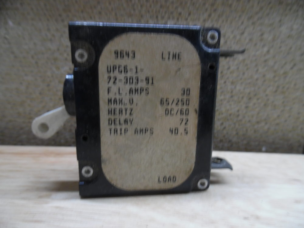 Used Airpax UPG6-1-51-103-91 10A Breaker 110 Push On No Pin
