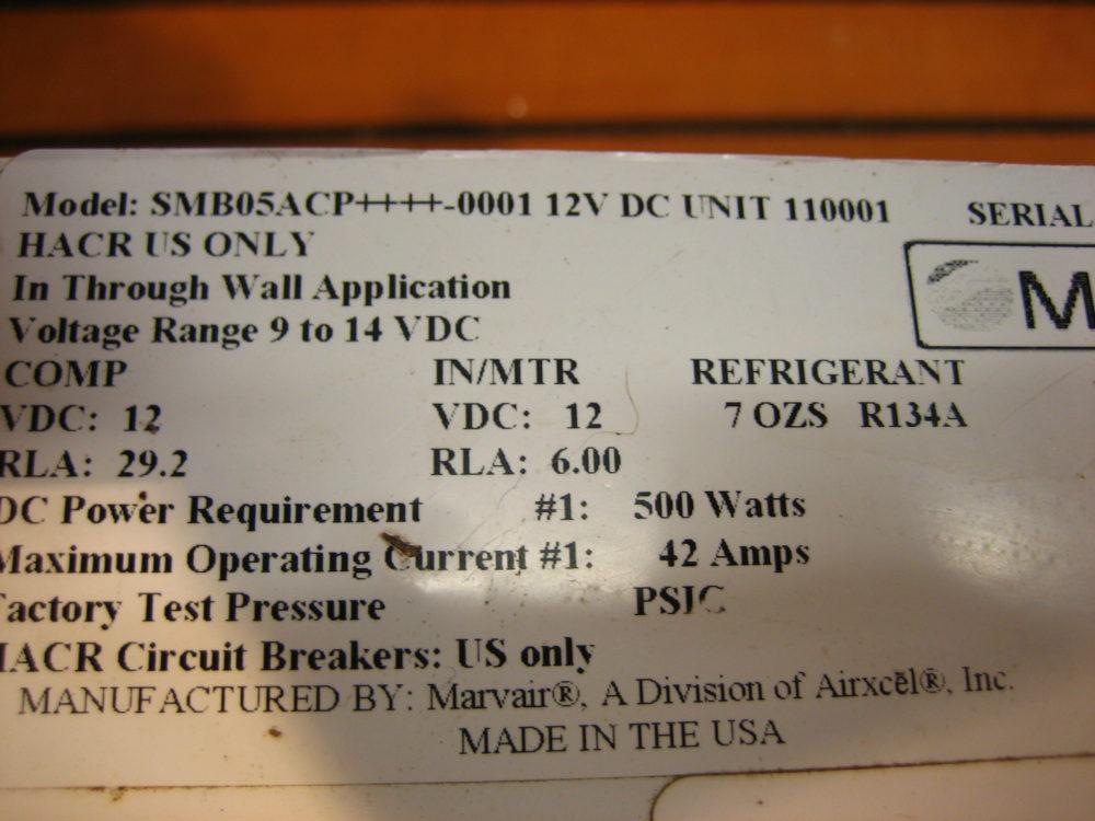 Marvair SMB05ACP 5000 BTU 12V DC Self Contained Marine Air Conditioner AC -  Max Marine Electronics