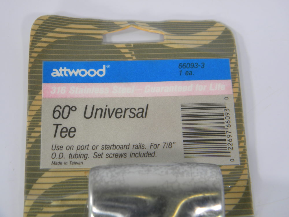 "Set Screw Included Attwood 66093-3 60 Degree Universal Tee for 7//8/"" Rail"
